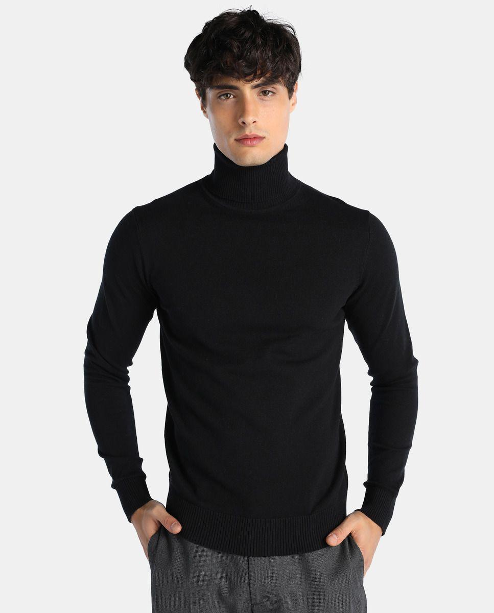 5855bc9d5cbc Jersey de hombre Easy Wear básica negro con cuello cisne | Ropa en ...