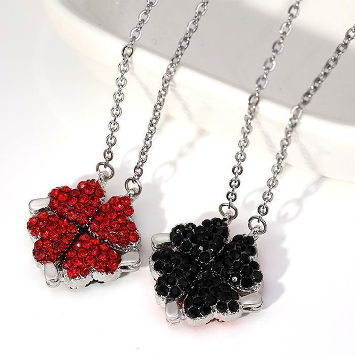 BLUE&RED NECKLACEBLACK&RED NECKLACE1 NECKLACE - 4 WAY OF WEARINGSurprise Rose Gift Box, Give Your Love A Big Surprise!Necklace can hide insideMeet Four Leaves Clover, Meet Lucky~Specification:Length: around 43cmWeight: 5gColor: Blue+Red, Red+Black Clover; Chain we usually send you S925 silver plating chain;Shape: Lucky Four Leaf Clover Design