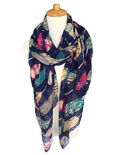 GERINLY Scarf Wrap  Colorful Feathers Print Shawls Womens Soft Scarves Navy Blue ** More info could be found at the image url.