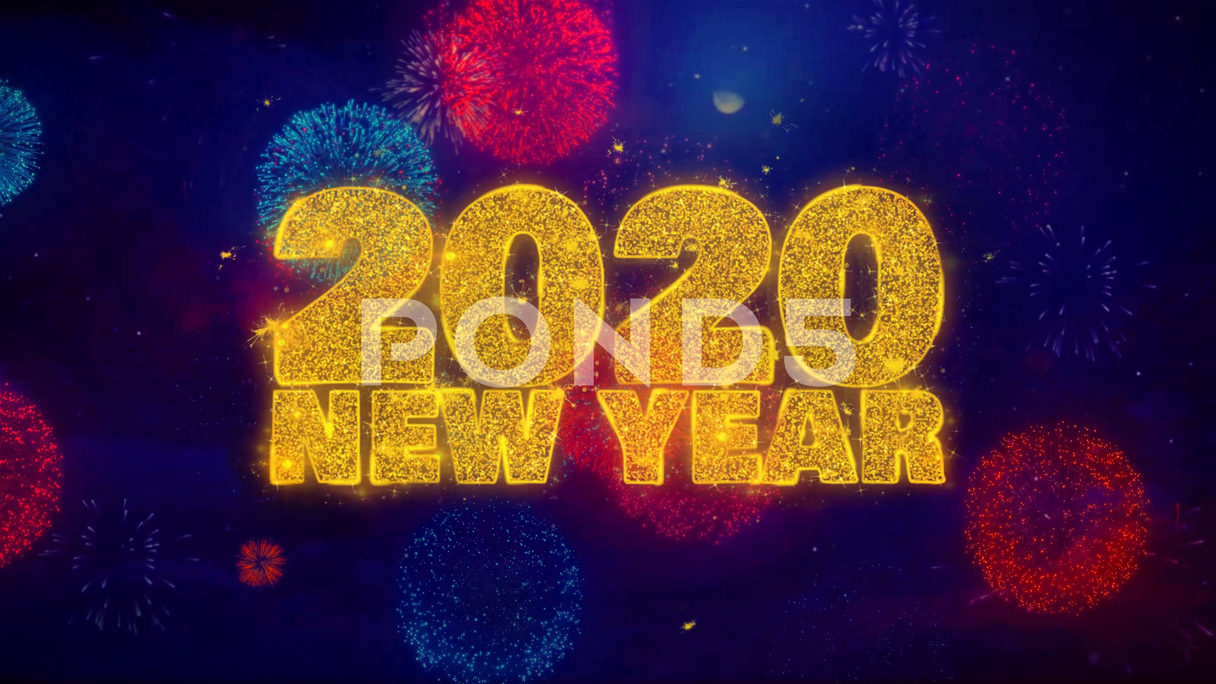 2020 New Year wish Text on Colorful Ftirework Explosion