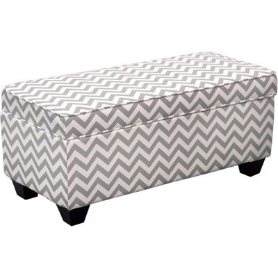 Carson Upholstered End Of Bed Storage Bench Ottoman Grey White Chevron