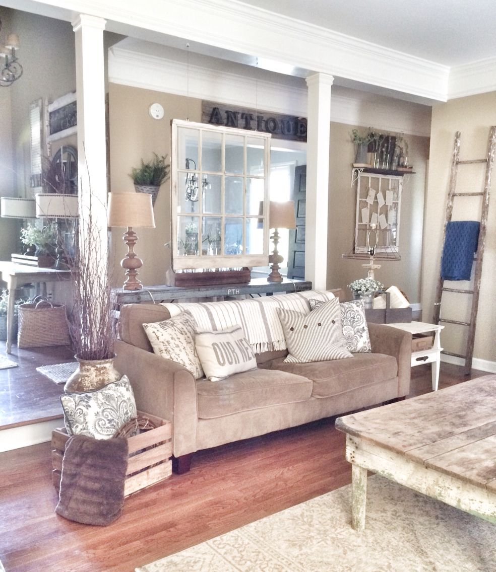 Farmhouse and rustic living room | Ideas for the House | Pinterest ...