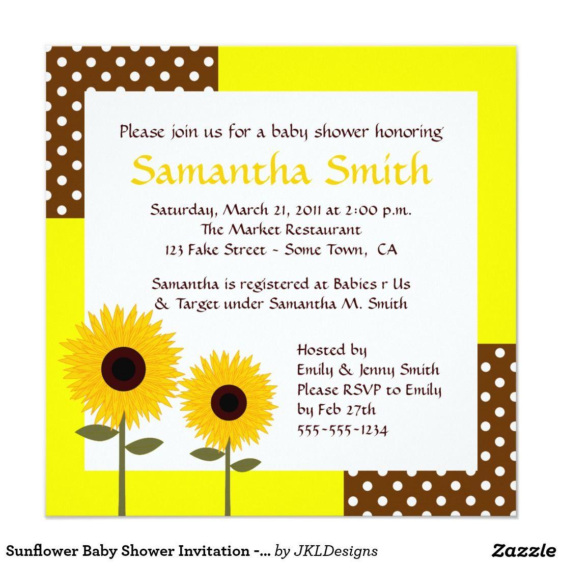 Sunflower Baby Shower Invitation - Yellow & Brown | Sunflower baby ...