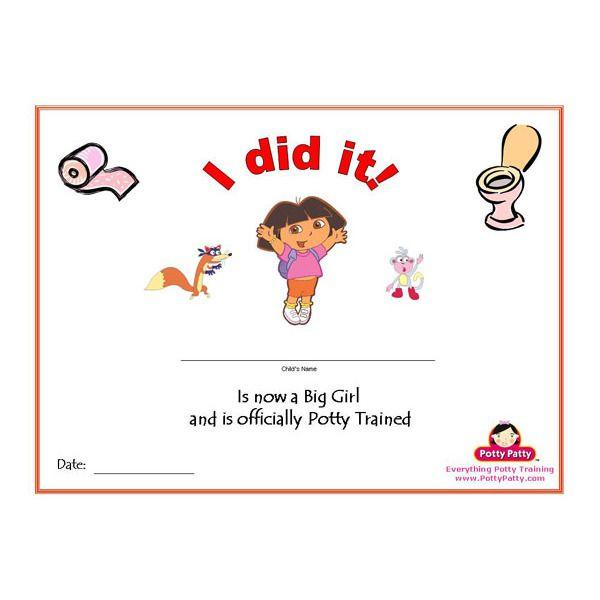 PRINTABLE Dora the Explorer Potty Training Certificate for Girls - free training certificates