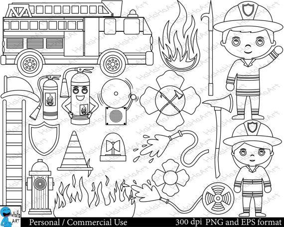 Outline Firefighters Set Clipart Digital Clip Art Graphics Etsy Digital Clip Art Graphics Clip Art Digital Clip Art