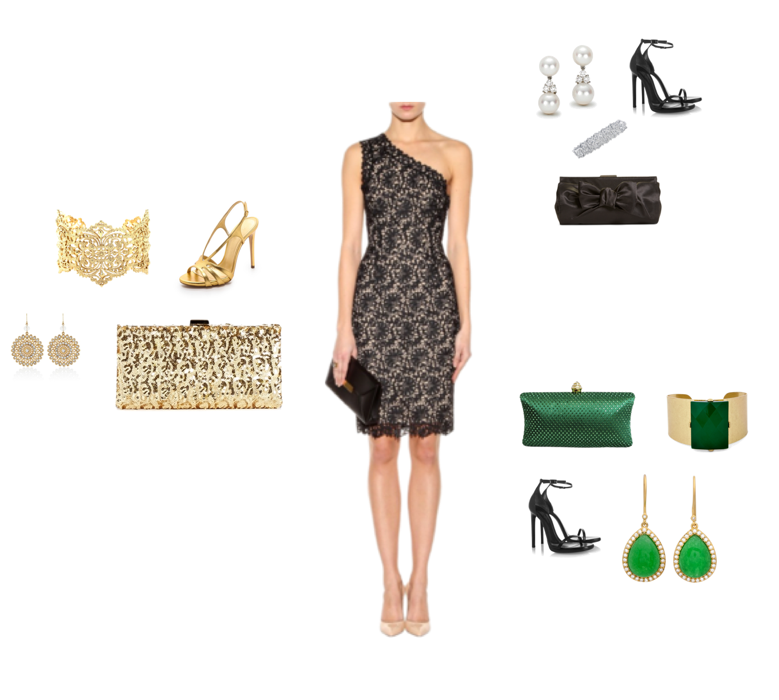Black lace cocktail dress accessories