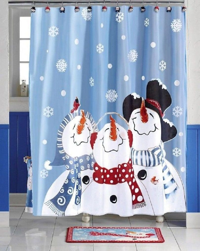 Christmas Shower Curtains Walmart Amazing Bathrooms Presents Snowman