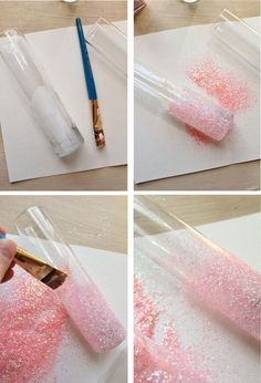 DIY Glittery Pink Vases...do this with mason jars and wine bottles...not pink, maybe pearl or white glitter, then burlap and white lace