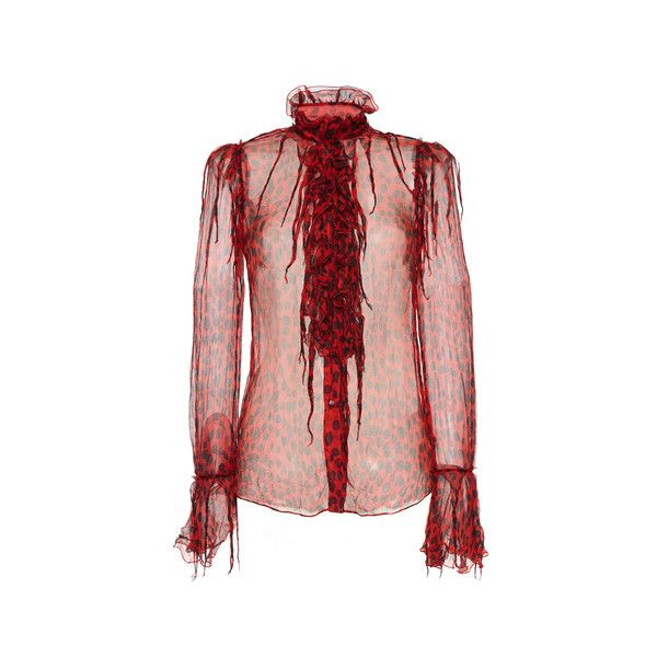 Roberto Cavalli     Fringe Embellished Silk Blouse ($1,995) ❤ liked on Polyvore featuring tops, blouses, red top, silk button down blouse, ruffle blouse, ruffle top and fringe blouse