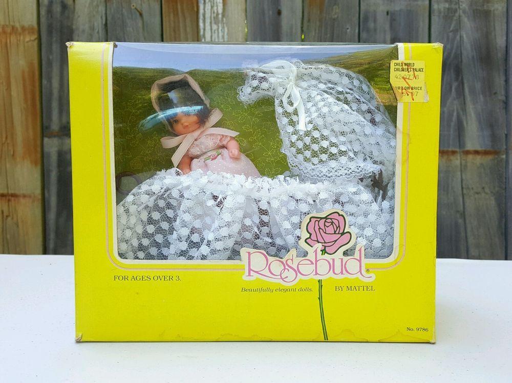 Vtg 1976 Mattel ROSEBUD DOLL + CRADLE SET # 9786 Pink Heather Rose ~ NEW in BOX #Mattel #Dolls #Rosebud