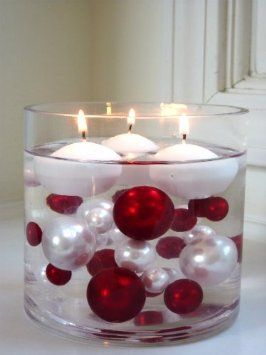 Such A Great Idea For A Table Centerpiece For Any Holiday Or Special Occasion Float Oversized Pearl Beads Red And White Drijvende Kaars Kaars Decoratie Kerst