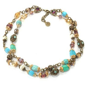 """Sweet Romance™ 20"""" Crystal & Glass Bead Double-Strand Necklace"""