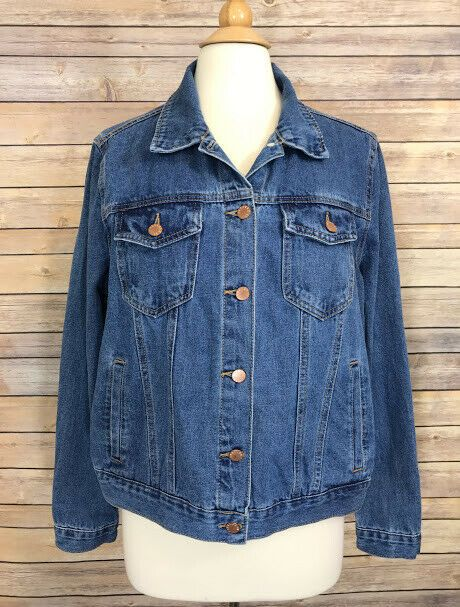 561d460f927 Forever 21 + Womens Blue Jean Denim Jacket Plus Size 0X Button Front 100%  Cotton  FOREVER21  JeanJacket  Casual