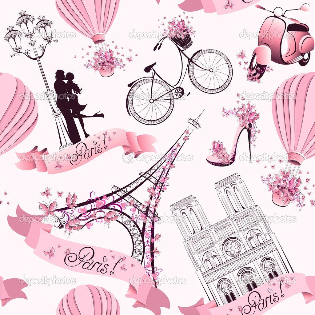 As Creation Pink Paris Pattern Eiffel Tower Childrens: París Símbolos De Patrones Sin Fisuras. Viajes