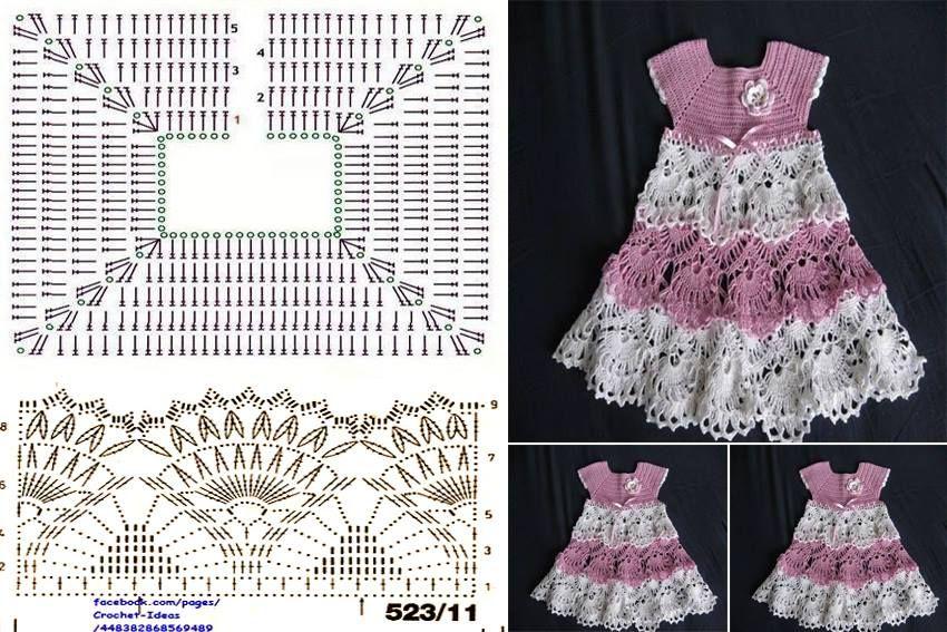 crochet para bebes vestidos patrones gratis - Buscar con Google ...
