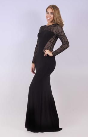 0c0914a7 Xscape Gown - XS7186 Black jersey gown with long sleeves and beaded details  on mesh