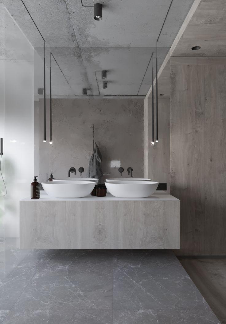Grey Apartment Badezimmer Schwarz Badezimmereinrichtung Luxusbadezimmer