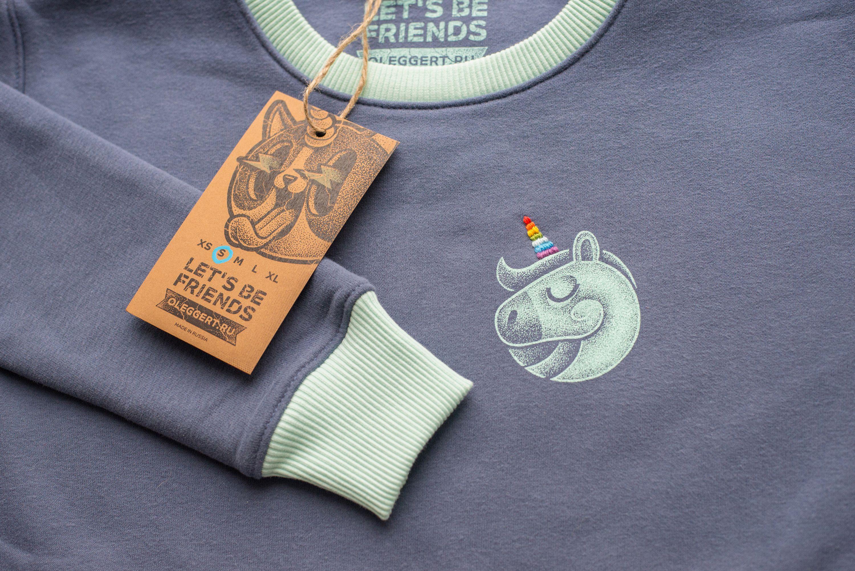 "Свитшот с вышивкой ""Unicorn"" | «Ламбада-маркет»"
