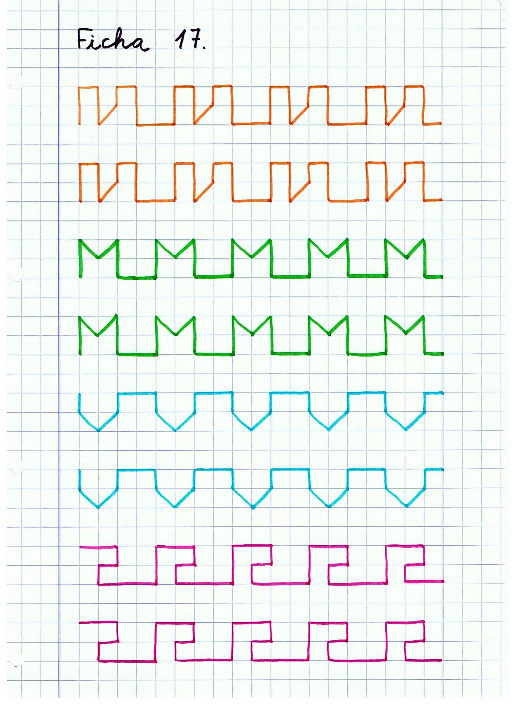 Caligraf a ficha 17 actividades ni os pinterest caligraf a cuadricula y motricidad - Colores para la concentracion ...
