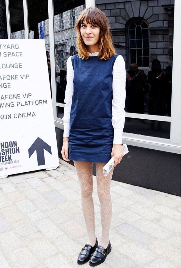 a186f25eaad Alexa Chung effortlessly layers some of the best mod staples like shift  dresses and miniskirts.
