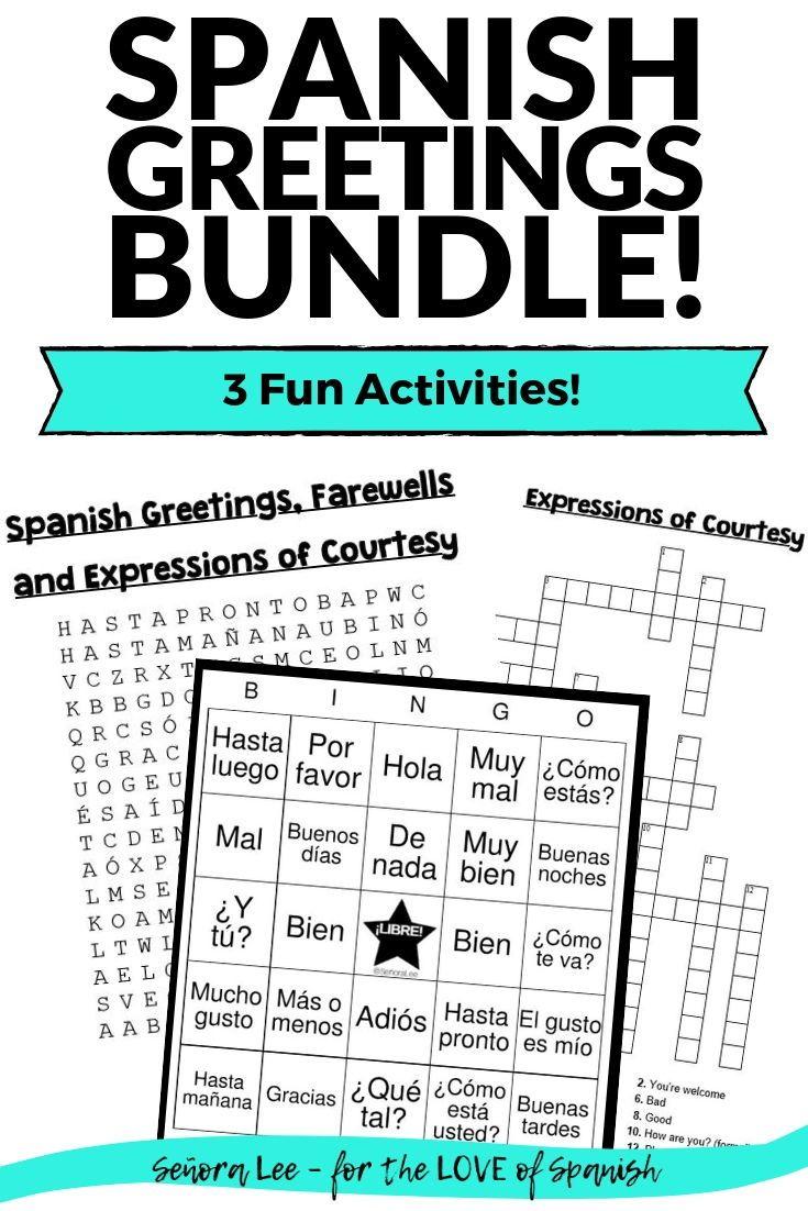 Spanish Greetings Bundle Word Search Crossword Puzzle Bingo