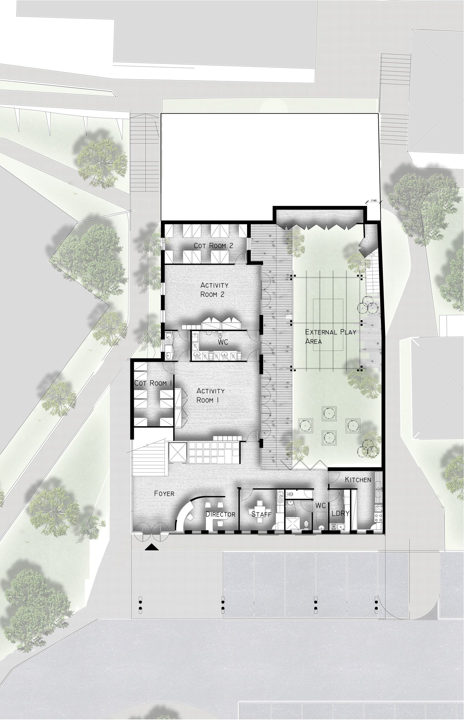 Ground floor concept plan showing layout for Childcare centre and ...
