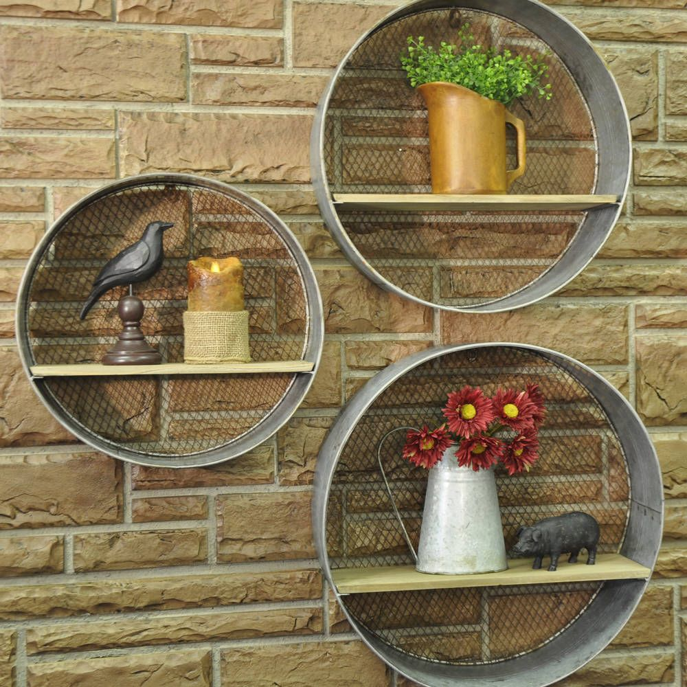 Round metal walls shelves s3 round shelf country farmhouse round metal walls shelves s3 amipublicfo Images