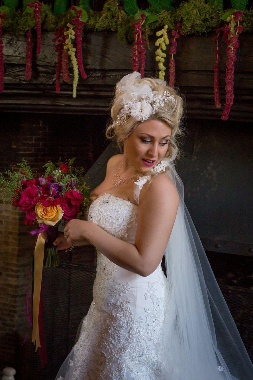 avant-garde wedding hair, colourful woodland wedding