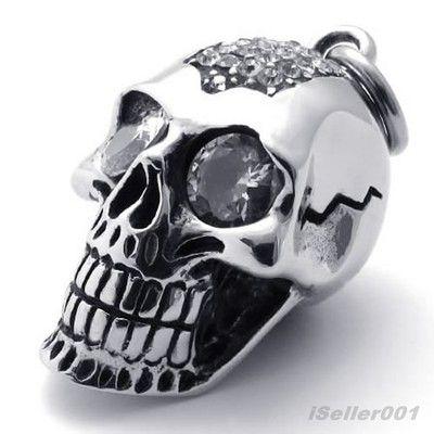 Silver Tone Eye Skeleton Skull Stainless Steel Men's Pendant Necklace US520638 - $54nok (free)