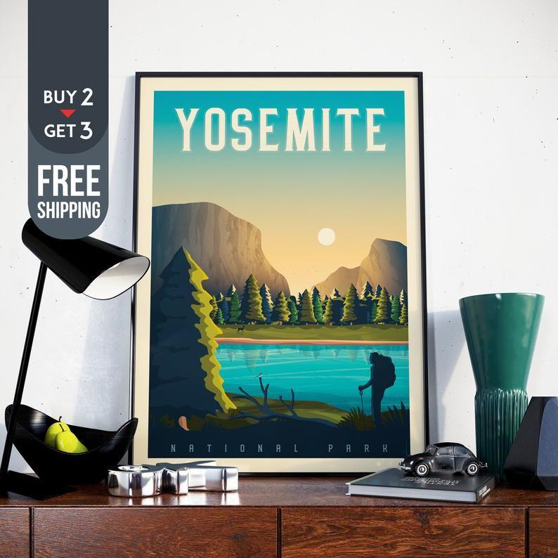 Vintage Voyage Yosemite Yosemite Poster Travel Poster: Yosemite National Park Print