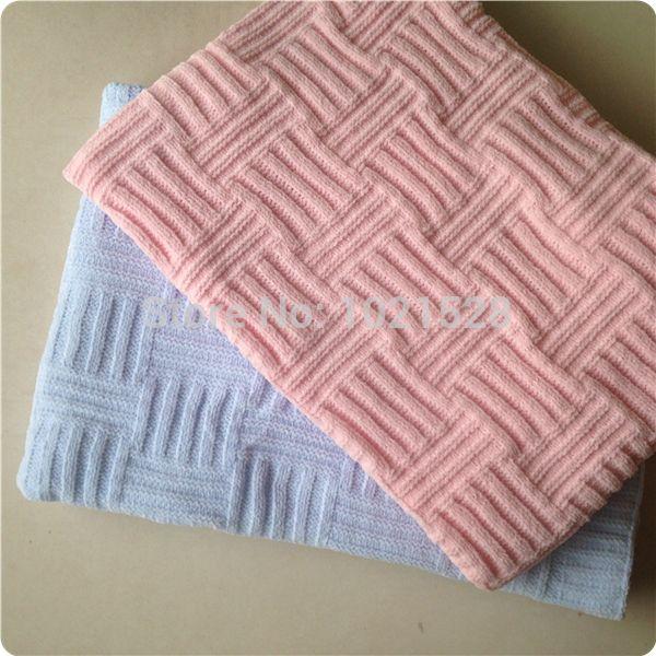 Original rosa / azul chenille tejida manta de bebé manta de tiro ...