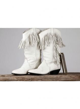 119b705e506 Vintage White Leather Cowgirl Boot with Fringe, Shoes, cowboy boots ...