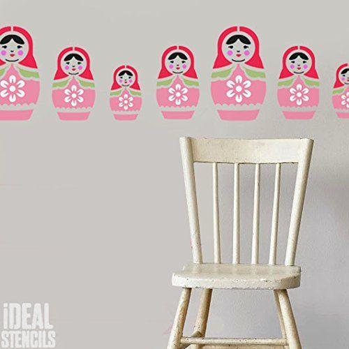 russisch Puppe Schablone Kinderzimmer Haus Wand Dekorieren Kunst