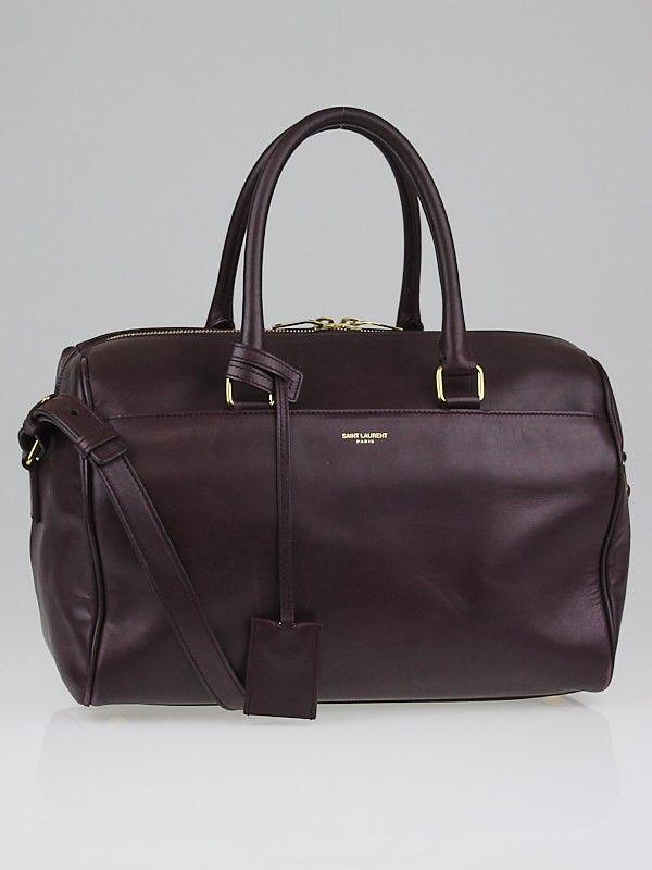 c6a055700dc4 Saint Laurent Bordeaux Calfskin Leather Classic Duffle 6 Bag - - 10037327