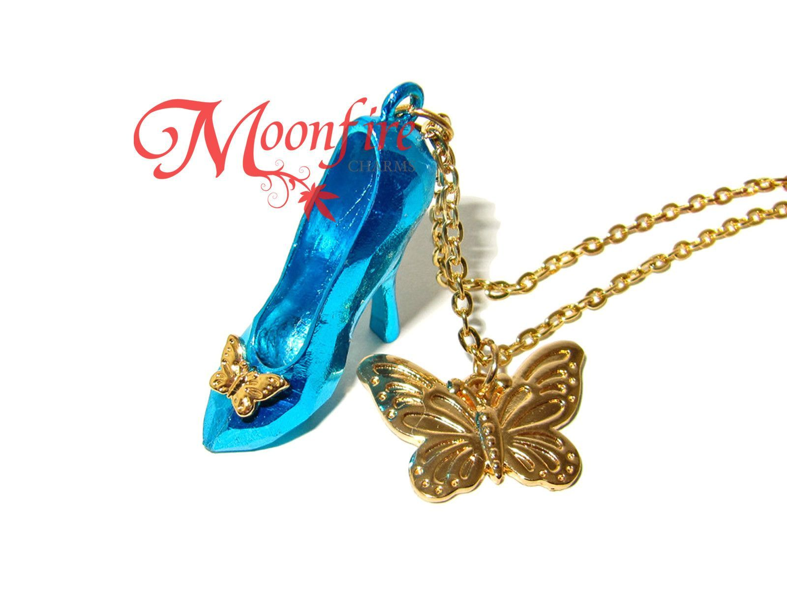 Cinderella glass slipper pendant butterfly charm necklace aloadofball Gallery