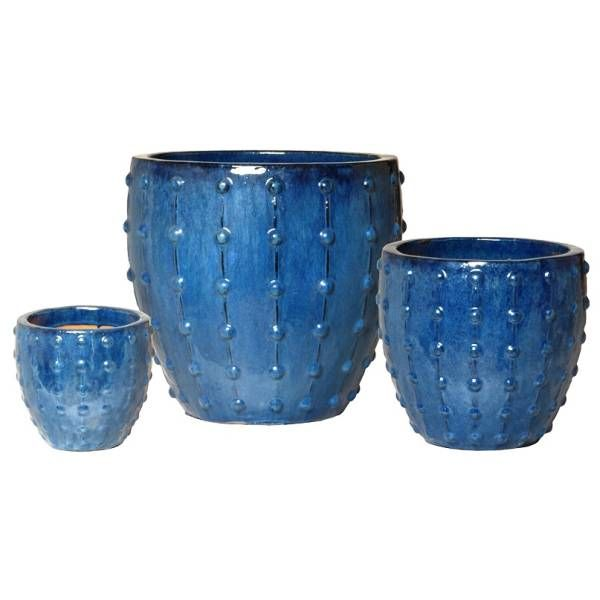 Blue Studded Ceramic Planters Set Of 3 Set Of Three Ceramic Planters With A Raised Stud Design And Blue Glossy Glaze S Ceramic Planters Planters Blue Studs