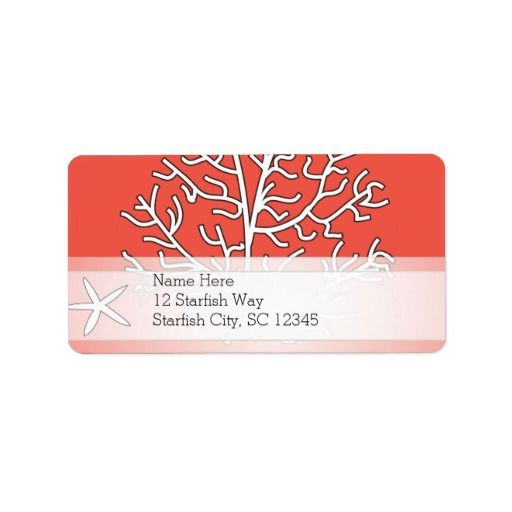Starfish and Coral Reef Personalized Address Label