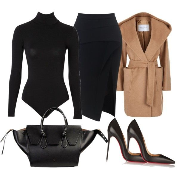 Black x Camel by glamourpl on Polyvore featuring polyvore, fashion, style,  Wolford,