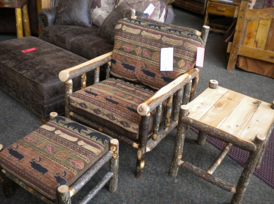Hickory Chair and Ottoman. So much beautiful hickory