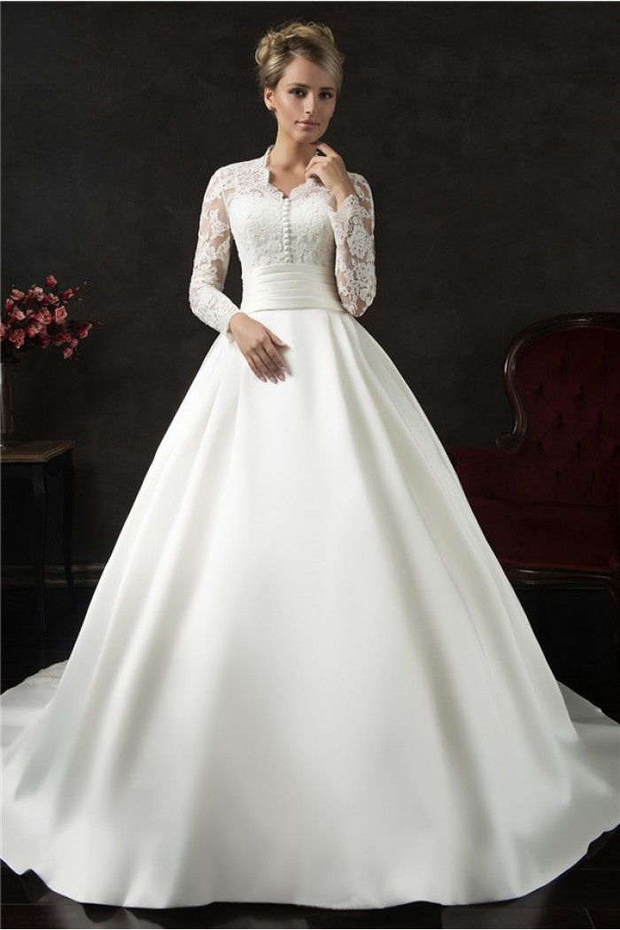 Vintage Ball Gown Long Sleeve Lace Satin Wedding Dress With Ons