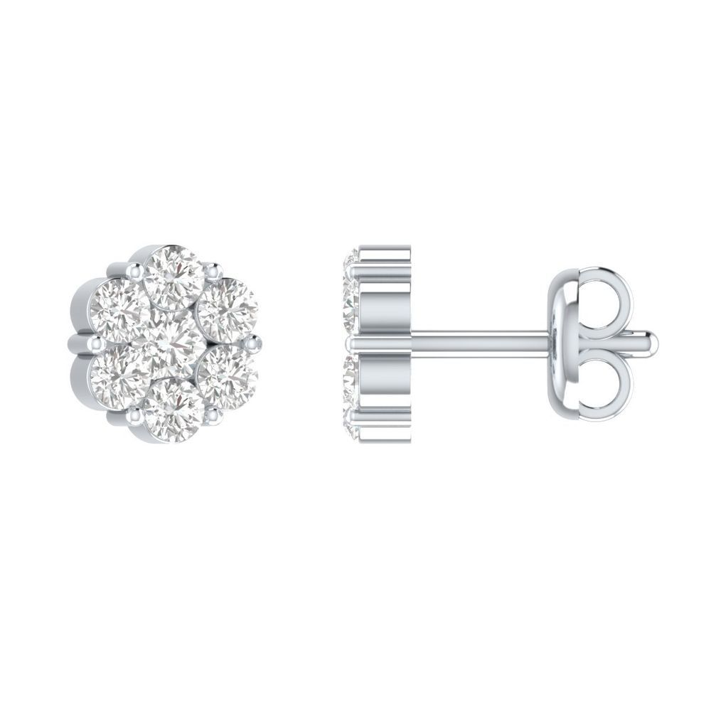 Diamond Fine Jewelry Lower Price with Diamond Heart Earrings 1.90 Ct 10k White Gold Fn Jacket Around Center Screw Back Bright In Colour