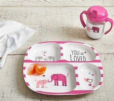 Pink You Are Loved Feeding Plate Amp Sippy Cup Pottery