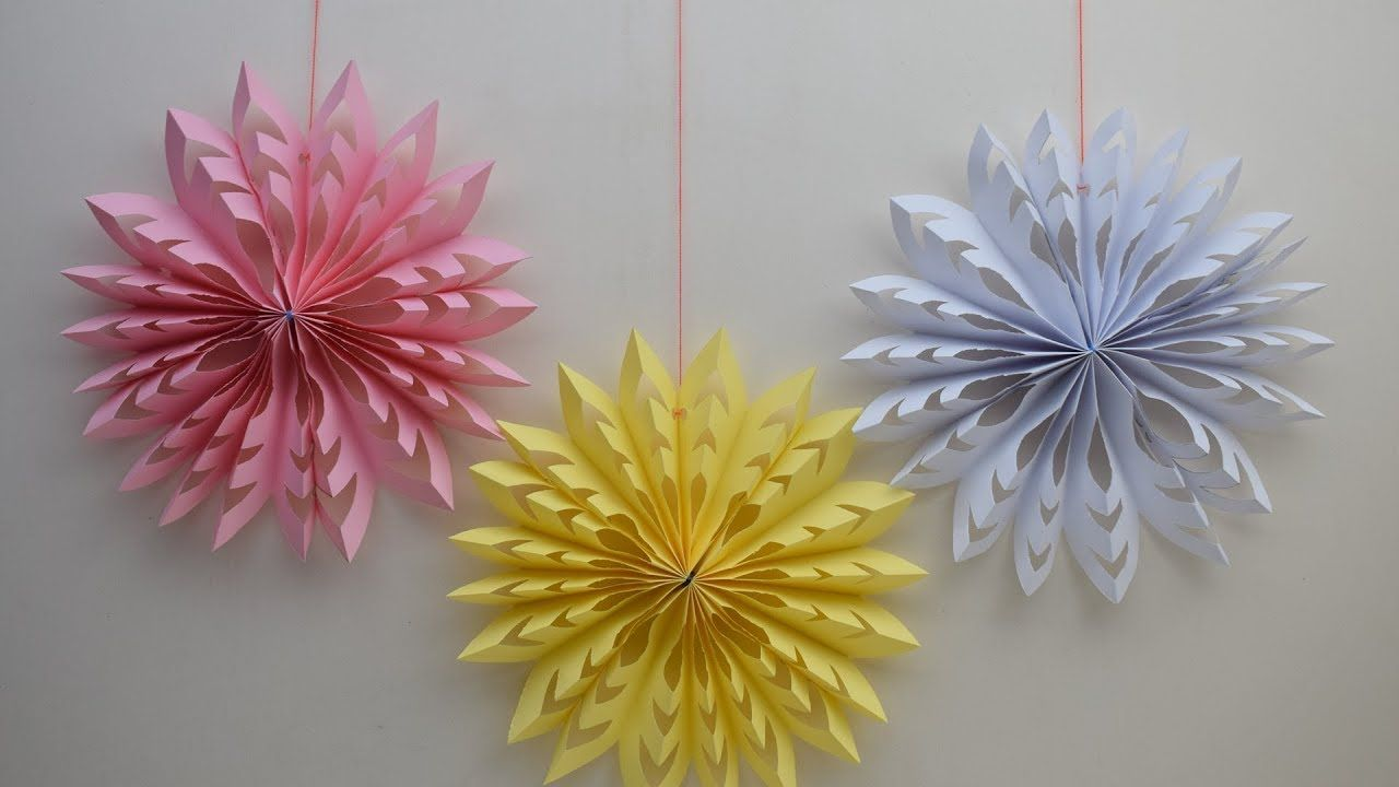 How to make beautiful paper decoration 3D snowflake for Christmas ...