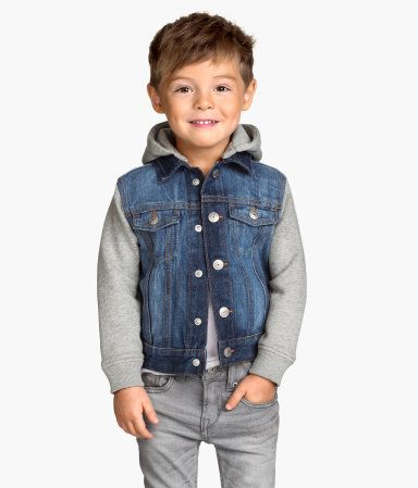 h m veste en jean avec capuche 29 95 mode petit gar on boys denim jacket jean jacket. Black Bedroom Furniture Sets. Home Design Ideas