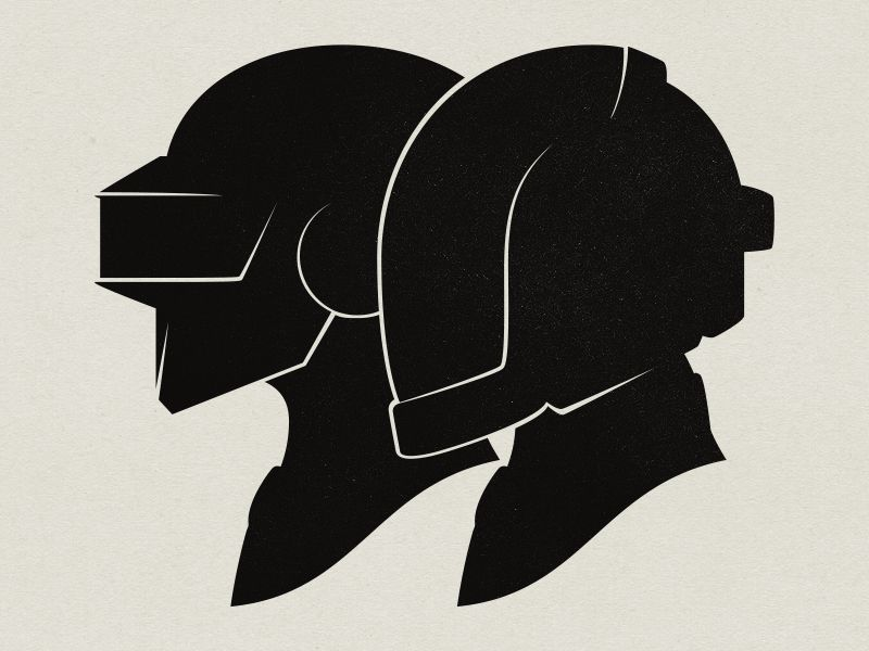Daft Punk Silhouette Portraits by Louie Mantia