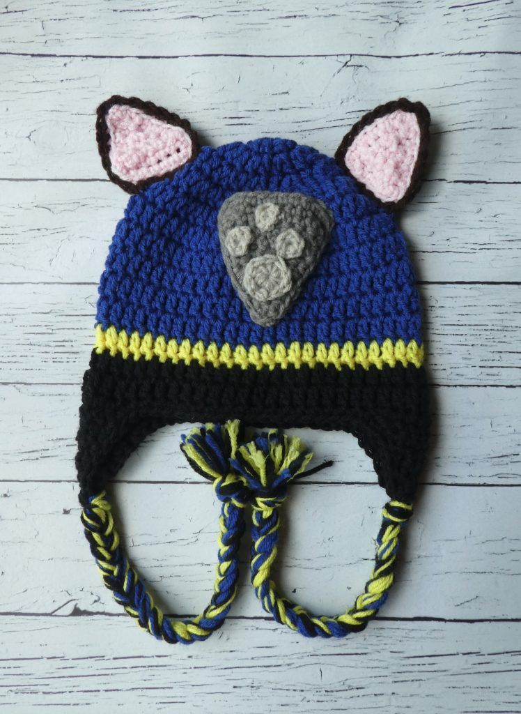 Chase Paw Patrol Hat & Mitten Set - Crochet animal hats, Paw patrol hat, Crochet paw patrol hat, Chase paw patrol, Crochet baby blanket beginner, Crochet baby mittens - Create this super cute crochet Paw Patrol hat with this cute easy to follow crochet pattern  The matching mitten pattern is available to make a set!
