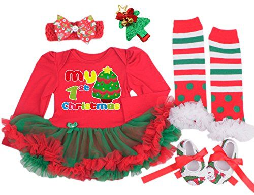CAKYE Baby Girls Christmas Costume My First Christmas Tutu Dress Set 4PCs Small36 months Red