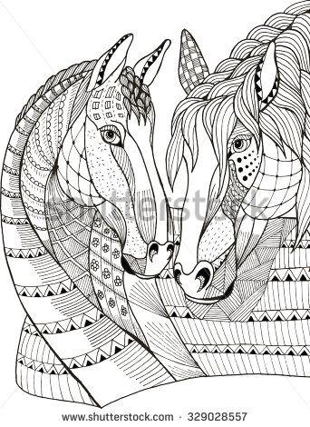 Two Horses Showing Affection Zentangle Stylized Vector Illustration Freehand Pencil Hand Drawn Patt Caballos De Exhibicion Ilustracion De Caballo Caballos