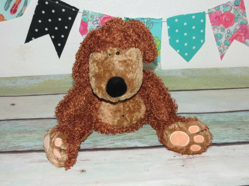 JellyCat Puppy Dog Brown Bunglie Plush Shaggy Pudgy