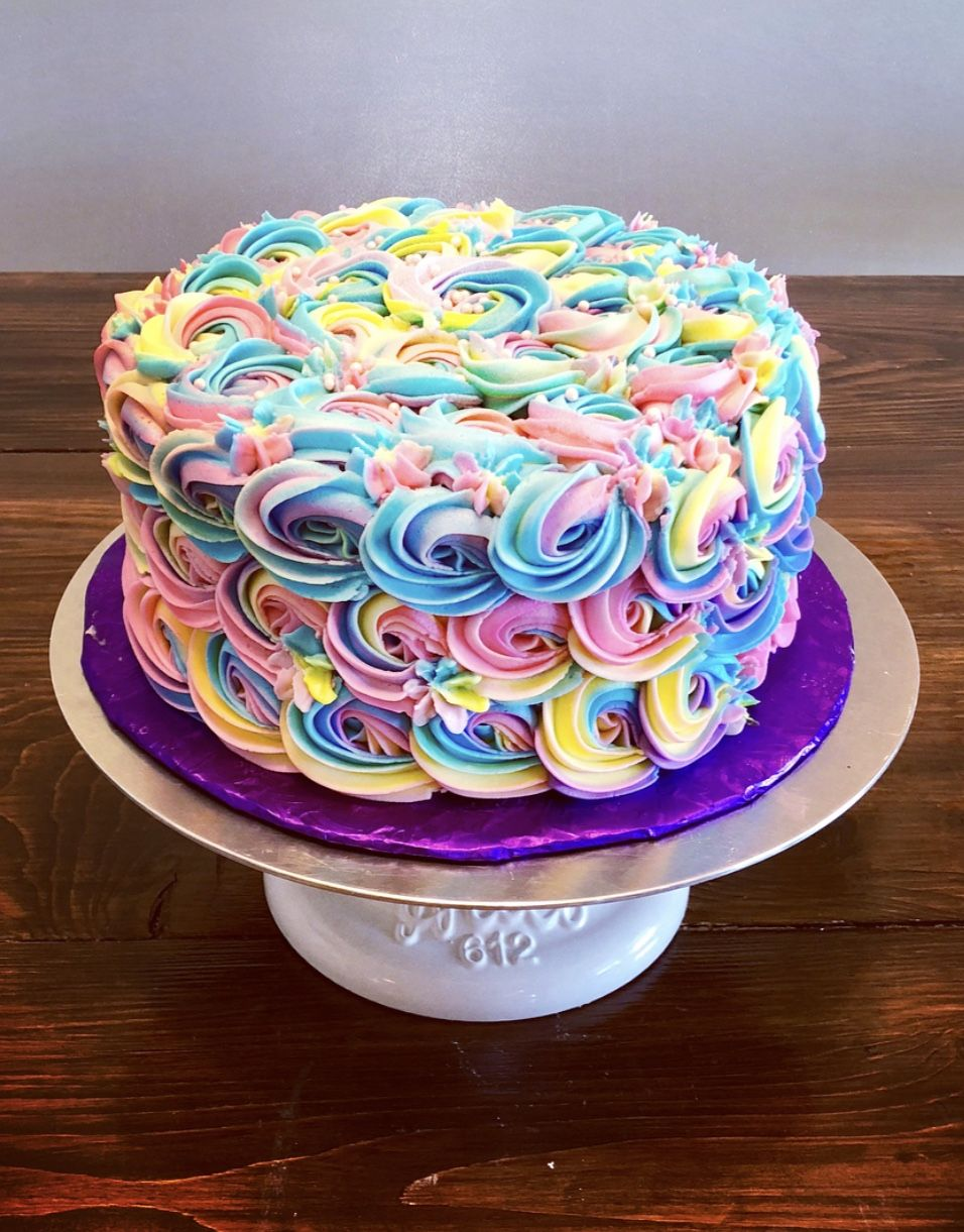 Rainbow Rosette Cake With Images Birthday Cake With Flowers